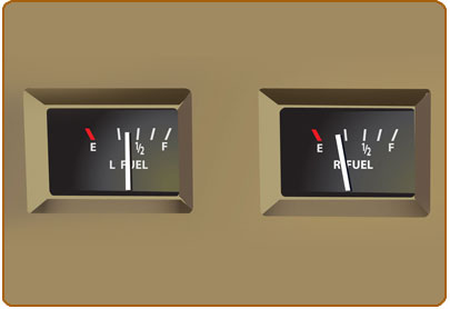 Fuel Gauges that indicate incorrect fuel levels